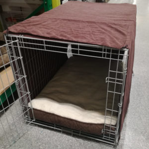 Large dog crate with TufToys cover