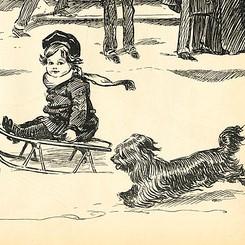 dog and child cartoon square